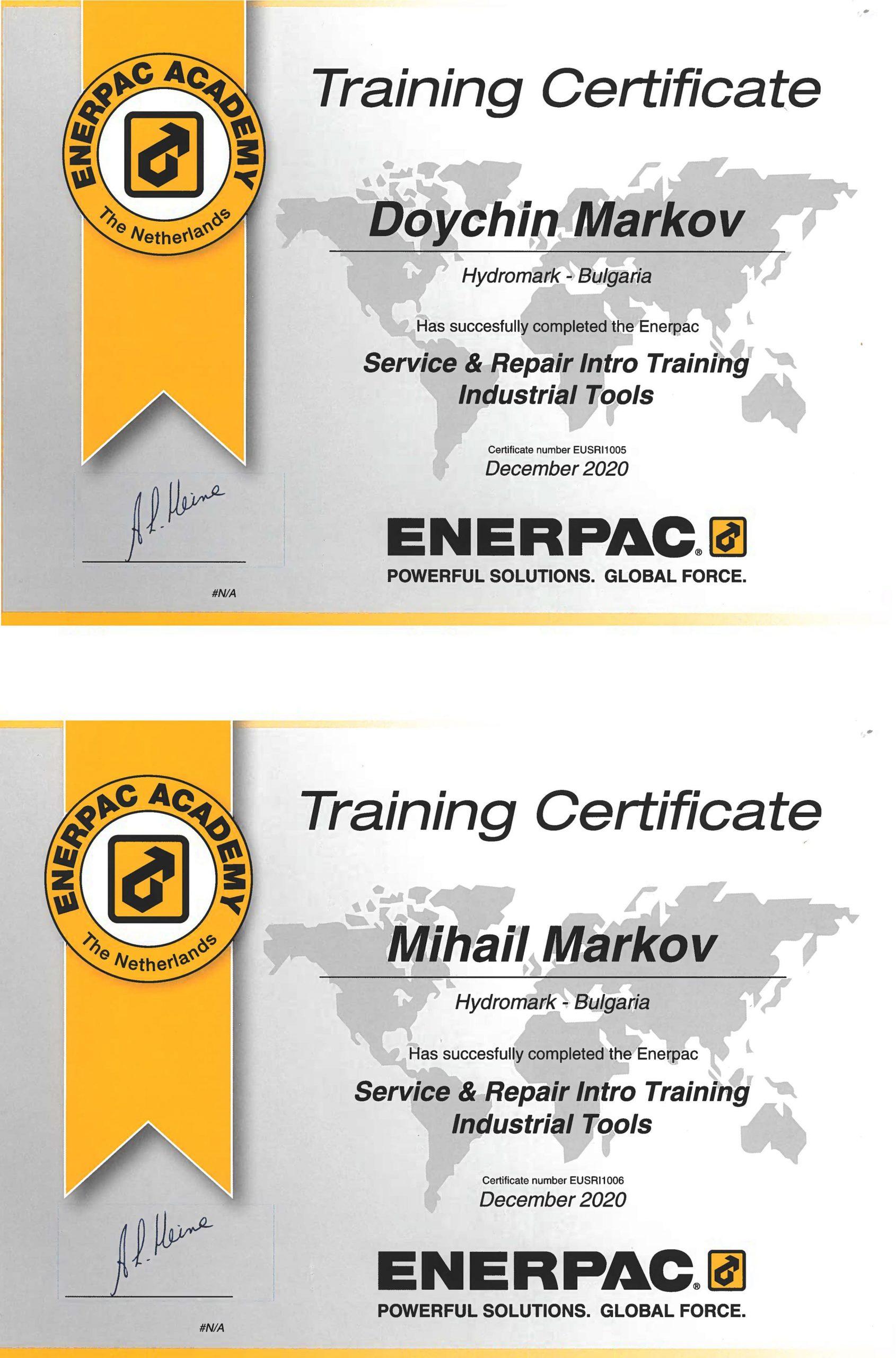 Сертификат Enerpac